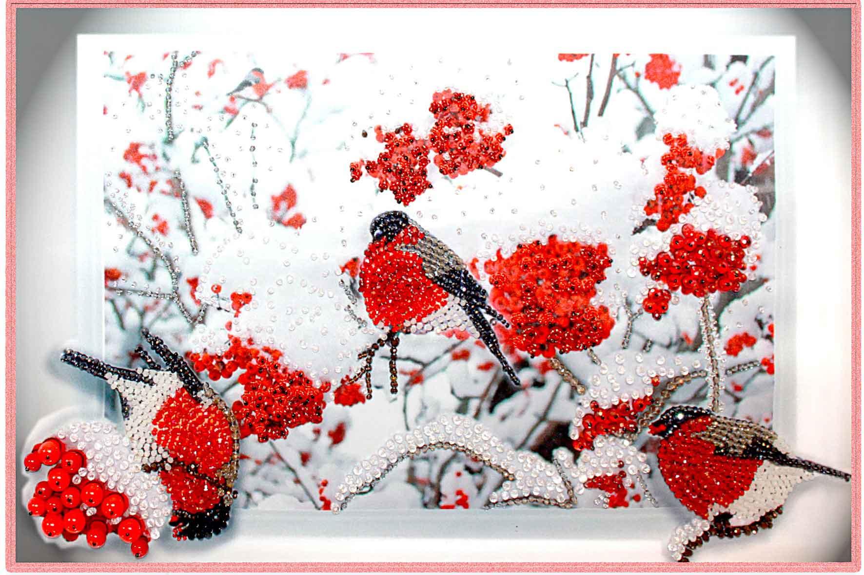 Набор для вышивки бисером снегири
