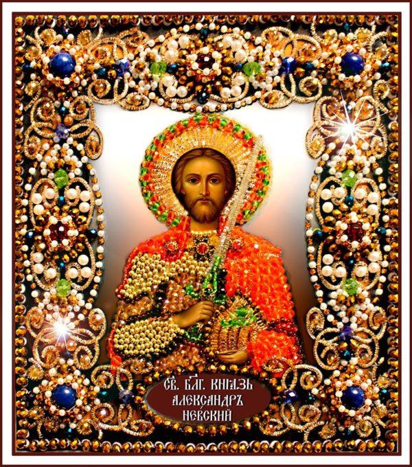 Образа в каменьях икона Святой Александр арт. 77-и-32