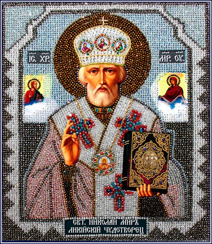Образа в каменьях икона Святой Николай Чудотворец (храмовая икона) арт. 7747