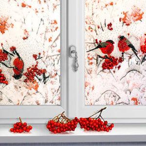 Образа в каменьях Снегири за окном арт. 5517
