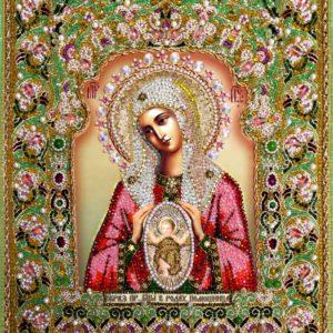 Образа в каменьях икона Богородица Помощница в родах арт. 7737 (Храмовая икона)
