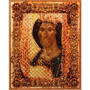 Образа в каменьях Спаситель храмовая икона арт. 7753