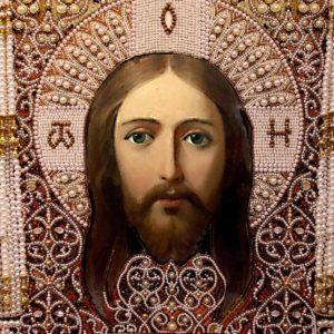 Образа в каменьях икона Спас Нерукотворный арт. 7727