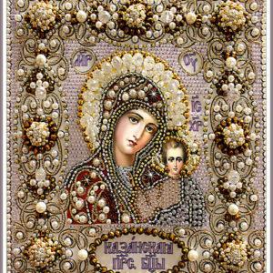 Образа в каменьях икона Казанская Божия Матерь венчальная арт. 77-В-01
