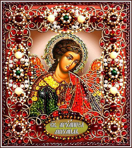 Образа в каменьях икона Святой Архангел Михаил арт. 77-и-30