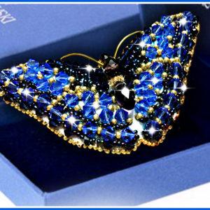 Образа в каменьях Брошь Swarovski Бабочка Сапфир 7,5х3,5см арт. 77-Б-12(S)
